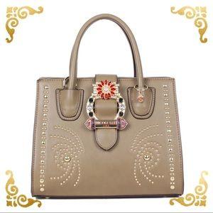NL Olive Bedazzled Buckle Belt Satchel Bag ●